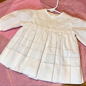Baby Girl's Solid White Embroidered L/S Dress
